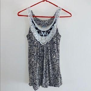 Daytrip   Black & White Crochet Detailed Blouse